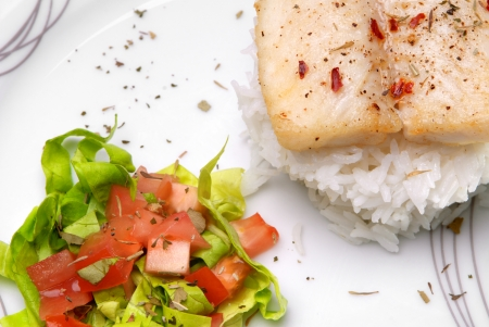 whitefish: Catfish with aromatic herbs, rice and salad