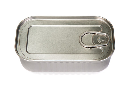 sardine can: Unopened tin of fish on a white background