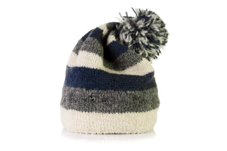 wooly: Warm wooly hat on a white