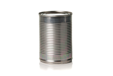 unlabelled: Unopened cylinder tin on a white background  Stock Photo