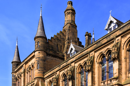 victorian architecture: Glasgow Universitys towers - a Glasgow landmark built in the 1870s in the Gothic revival style. Designed by Sir George Gilbert Scott. Editorial