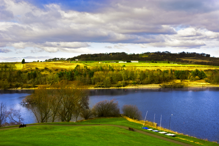 lothian: Linlithgow Loch in Spring Stock Photo