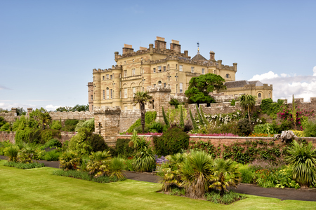 Calzean castle and blossoming garden in Scotland, UK