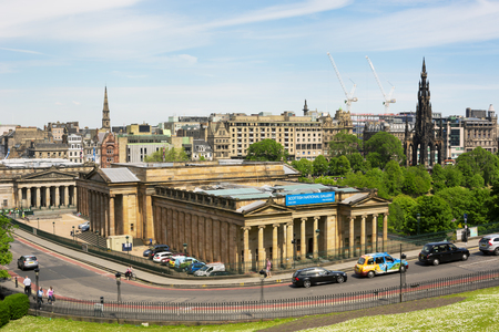 EDINBURGH, SCOTLAND - JUNE 12, 2015:  View towards Scottish National Gallery and Scott Monument from a high point