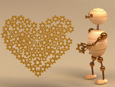 wood man mechanic heart 3d rendered for web and commercial Stock Photo