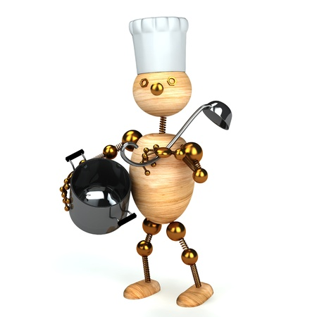 wood man cook 3d rendered for web and commercial Stock Photo