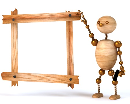wood man blank  board 3d rendered for web and commercial Stock Photo