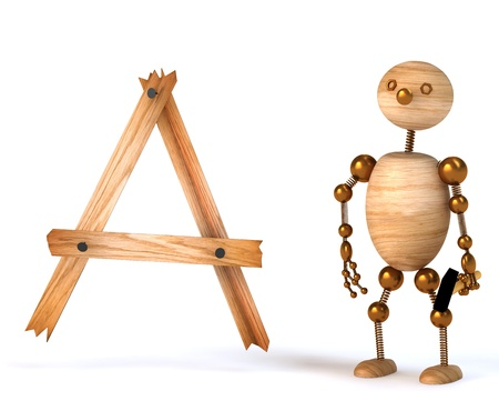 wood man with letter a 3d rendered Stock Photo - 8539007