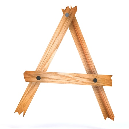 wooden letter a 3d rendered for web Stock Photo - 8539000