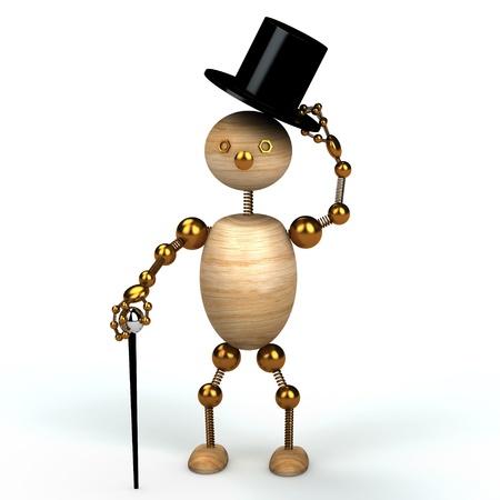 Gentelman wood man 3d rendered for web Stock Photo - 8583554