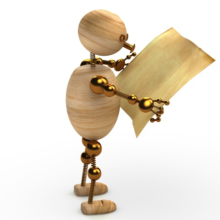 wood man reading the newspaper for web Stock Photo