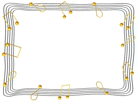 metal music: Musical notes photo frame 3d rendered for web