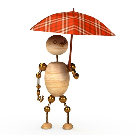 wood man under umbrella 3d rendered for web photo