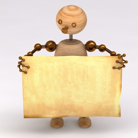 Wood man  holding a blank board 3d rendered Stock Photo - 8627828