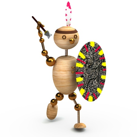 indigene: wood man indian with spear 3d rendered