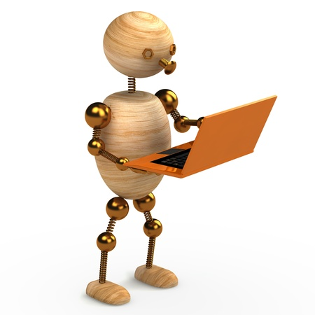 wood man with orange laptop 3d rendered photo