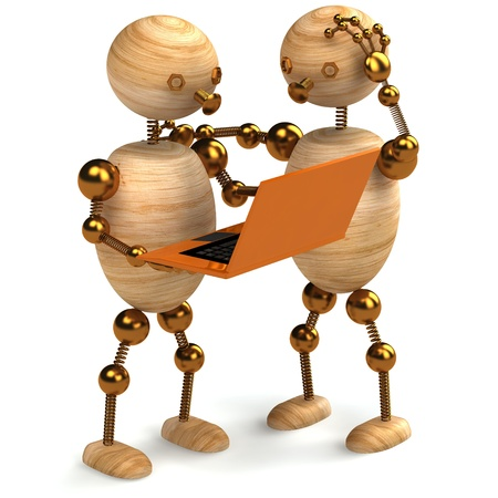 two wooden mans with orange laptop 3d rendered photo