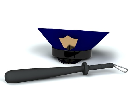 truncheon: police hat and club 3d rendered for web