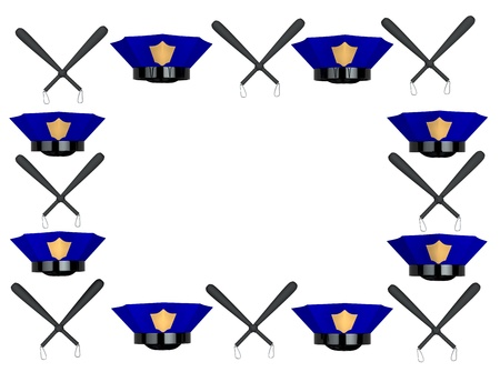 Police hat and club photo frame 3d rendered Stock Photo - 8627810