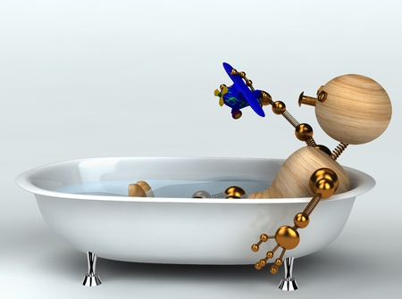 wood man with old bath 3d rendered photo