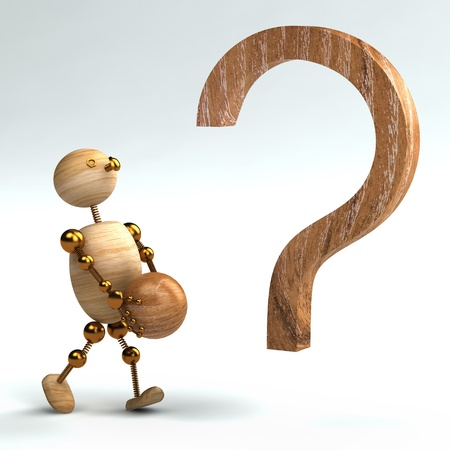 wood man with question mark isolated 3d rendered Stock Photo - 8627821