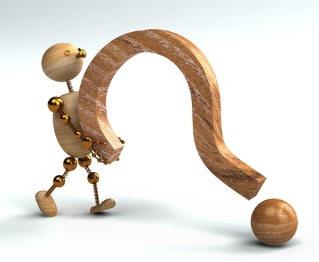 wood man lifting question mark isolated 3d rendered