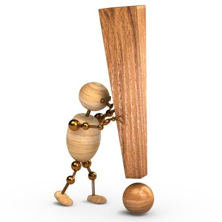 exclamation point: l'homme de bois avec un point d'exclamation 3d rendu