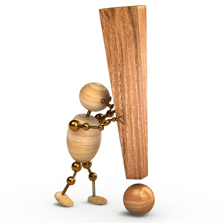 wood man with a  exclamation mark 3d rendered