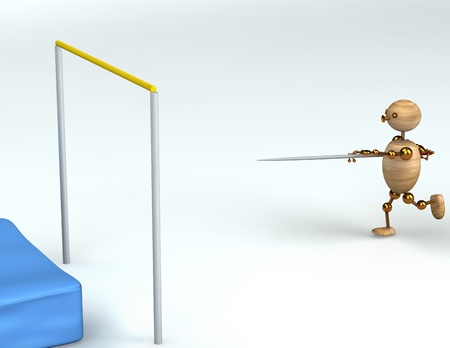 wood  man high pole jump 3d rendered Stock Photo - 8627814