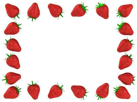 Strawberry photo frame 3d rendered for commercial photo