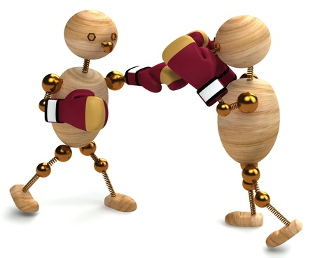pugilism: Boxing of two wood mans 3d rendered
