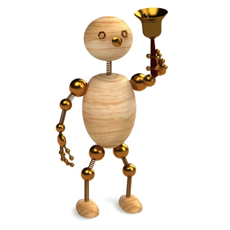 ding dong: Wood man with school bell 3d rendered