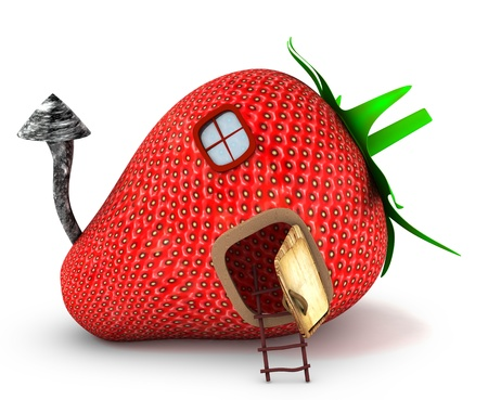 summer house: Strawberry house 3d rendered for commercial and web