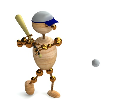 wood man baseball player 3d rendered for commersial photo