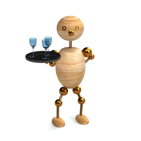 caterer: wood man as a waiter 3d rendered