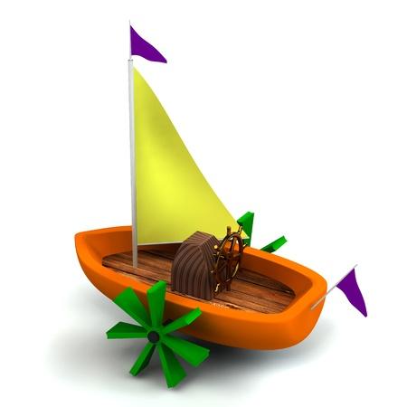 Toy boat isolated on white photo