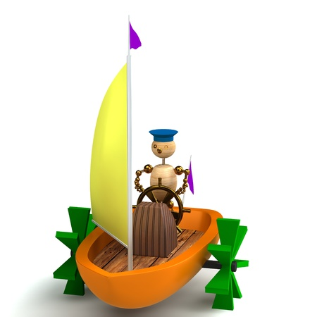 3d wood man on toy boat isolated photo