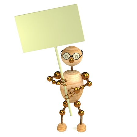 3d wood man with a blank board photo