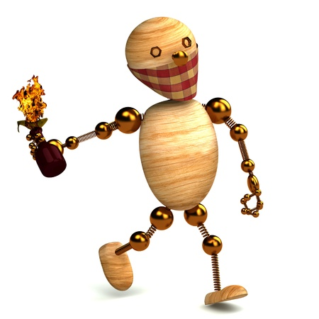 3d wood man with a molotov cocktail Stock Photo - 8710339
