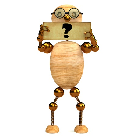 3d wood man holding blank board with question mark Stock Photo - 8783678