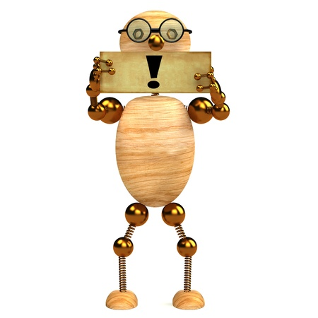 3d wood man holding blank board with exclamation  mark Stock Photo - 8783679