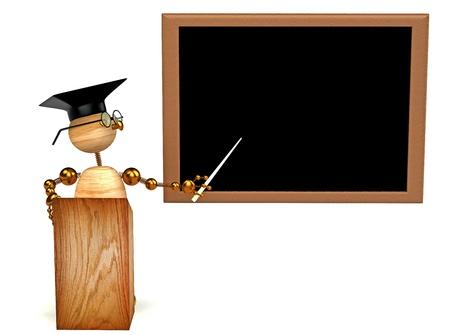 3d wood man teacher isolated on white photo