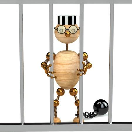 fetter: 3d wood man as a prisoner isolated on white Stock Photo