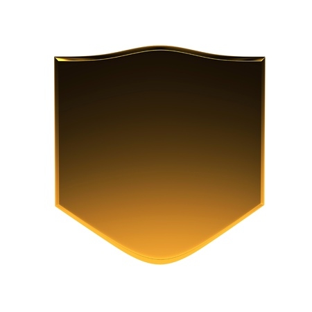 3d golden with black shield isolated on white Stock Photo - 8783656