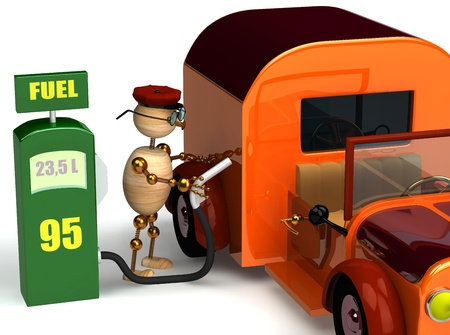 3d wood man with a petrol pump isolated on white Stock Photo - 8783703