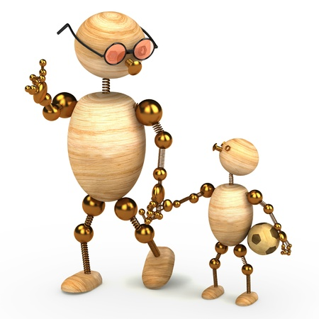 3d wood man holding a chlid isolated on white photo