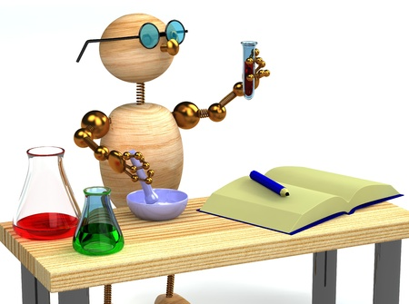 green chemistry: 3d wood man as chemist holding test tube