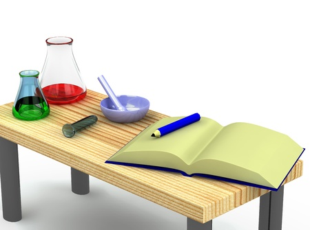 3d chemist table with a test tubes isolated Stock Photo - 8904870