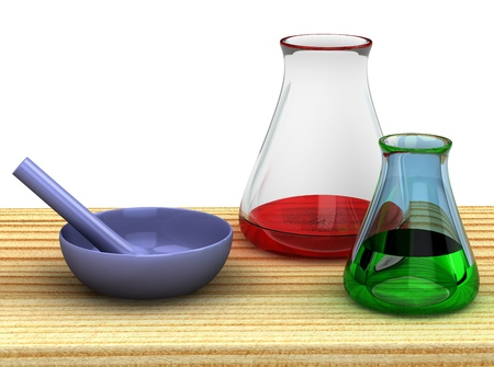 3d chemist table with a test tubes isolated Stock Photo - 8904873