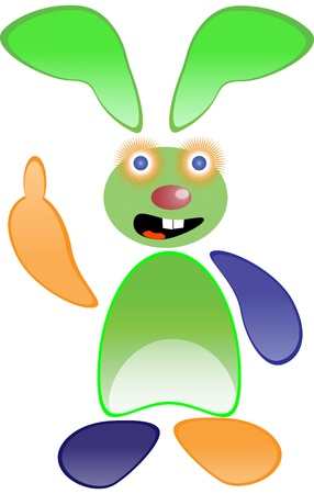 fondly: Green funny rabbit isolated on white